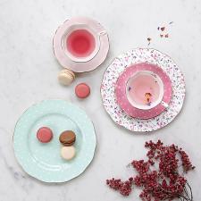 Modern Vintage Rose Confetti Teacup, Saucer & Plate