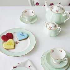 Polka Rose Teacup/ Saucer/ Plate Set