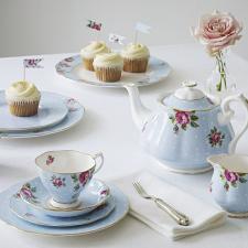 Polka Blue Vintage Teacup/ Saucer
