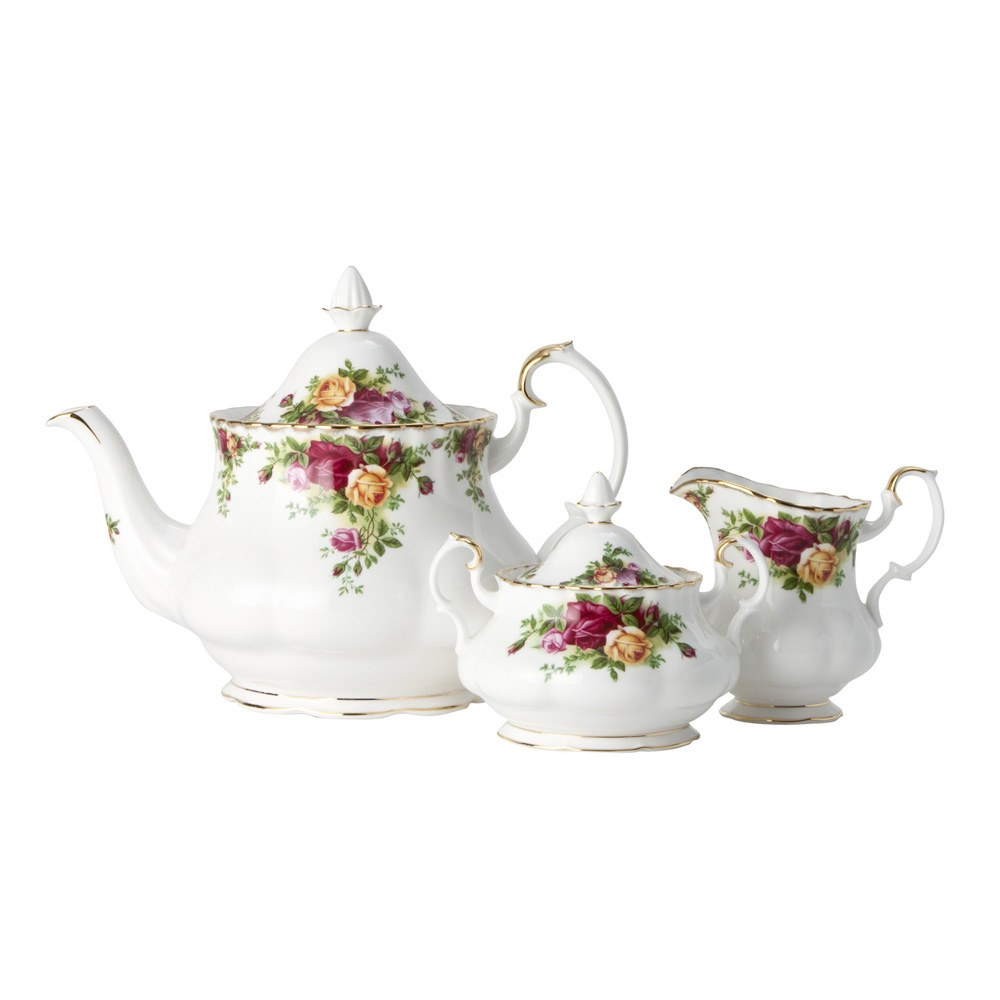 Old Country Roses Teapot/Sugar/Creamer Set