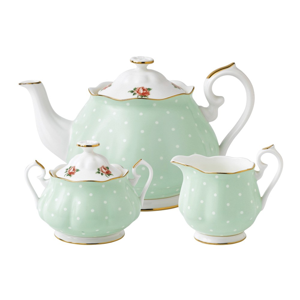 Royal albert polka rose teapot sugar creamer set royal Green tea pot set