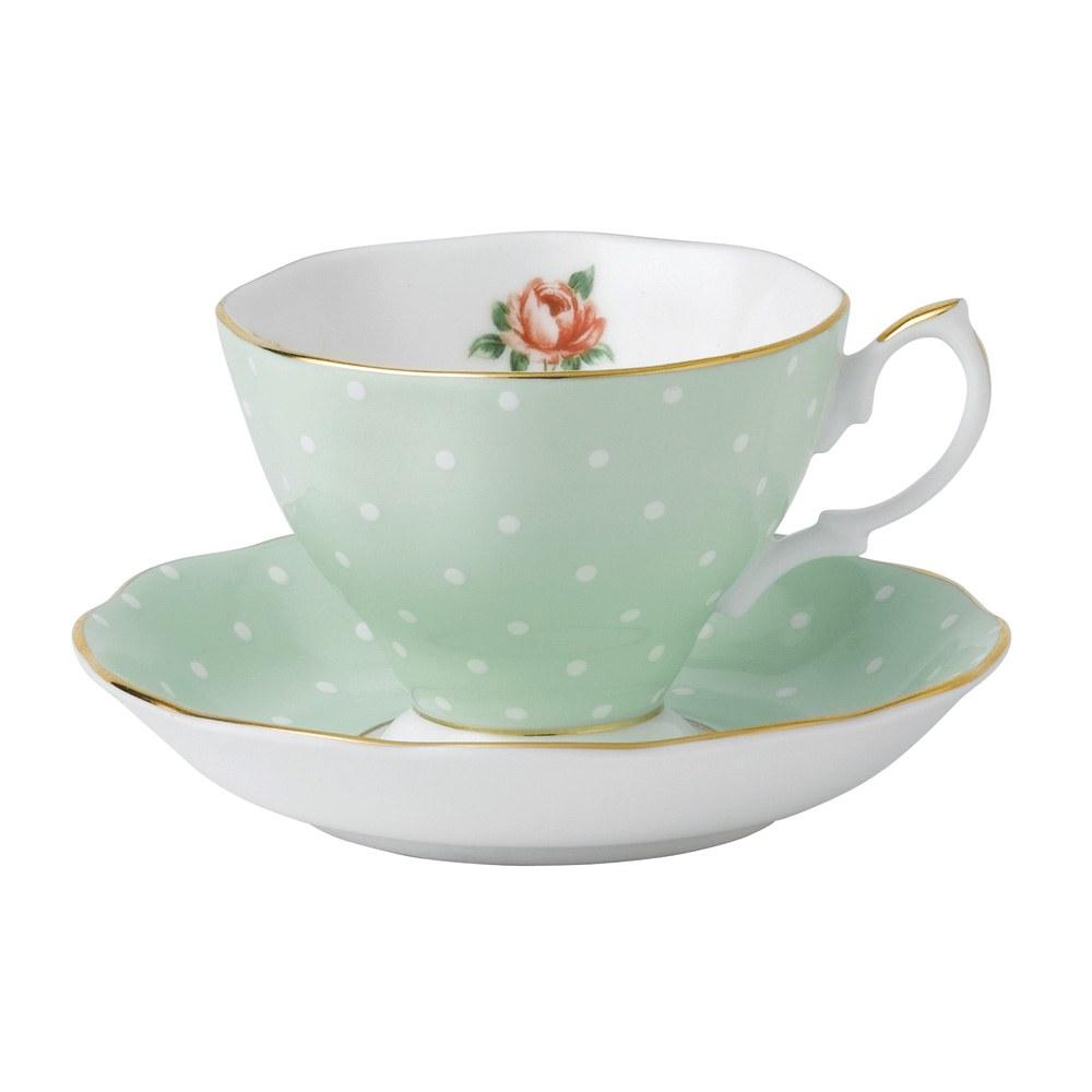 royal albert polka rose teacup saucer set royal albert. Black Bedroom Furniture Sets. Home Design Ideas