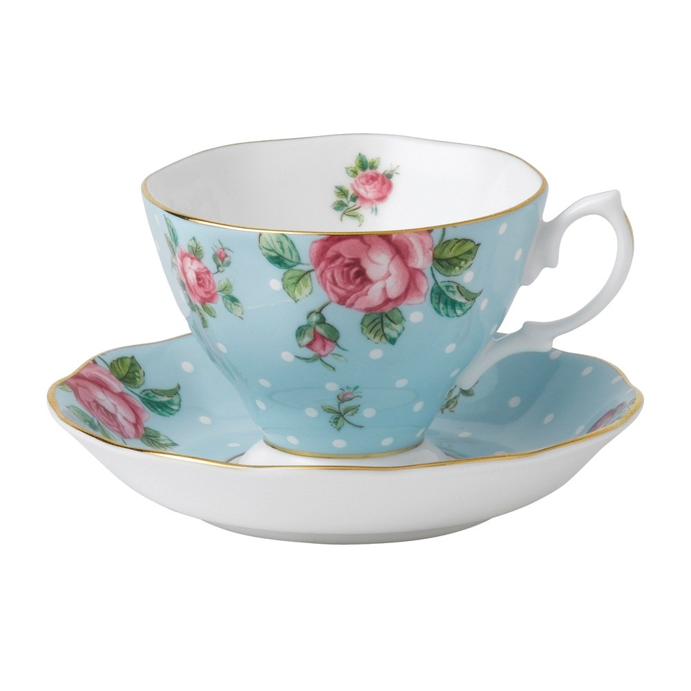 Royal Albert Polka Blue Vintage Teacup/ Saucer