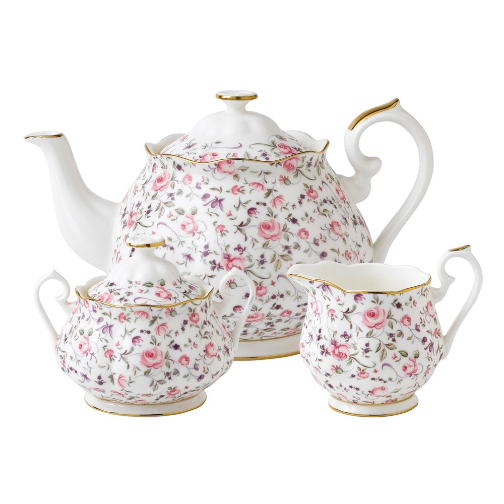 Royal Albert Rose Confetti Teapot Sugar Creamer Set