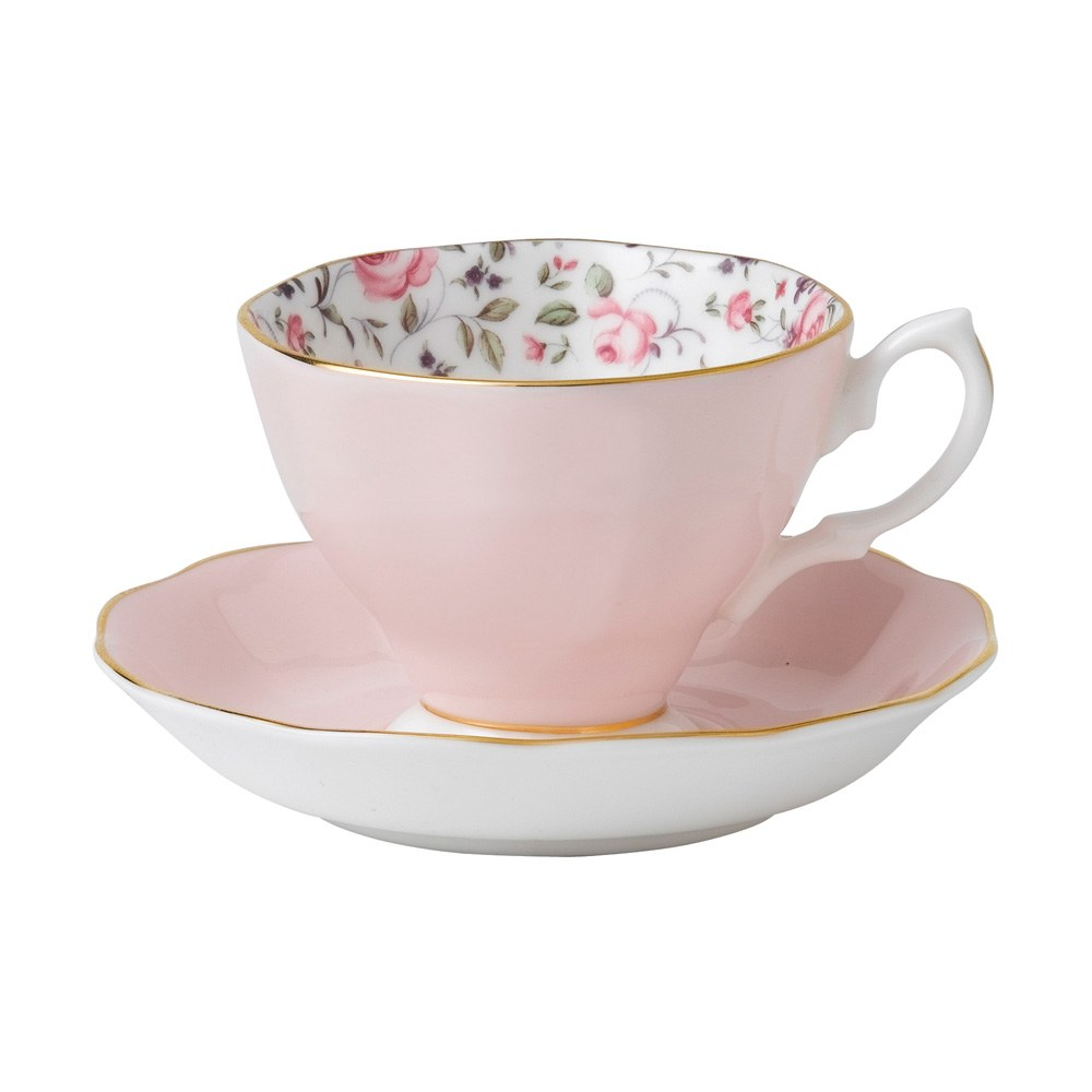 royal albert rose confetti teacup saucer set royal. Black Bedroom Furniture Sets. Home Design Ideas