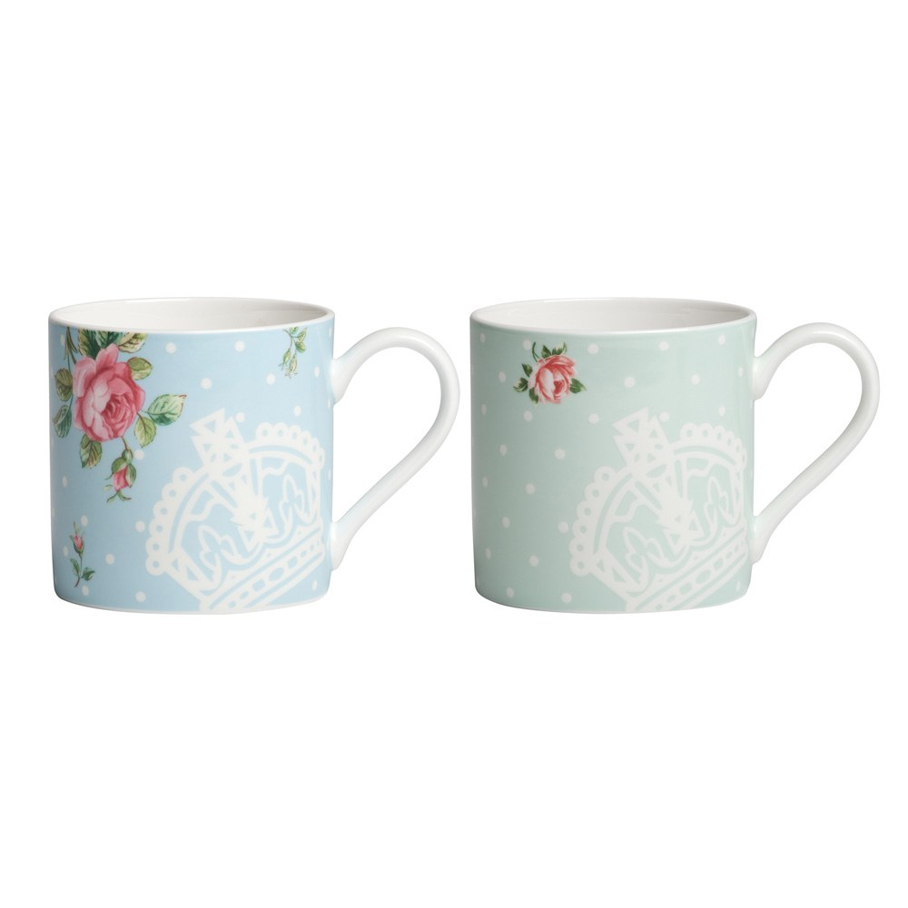 Set of 2 Mugs Polka Rose/ Polka Blue