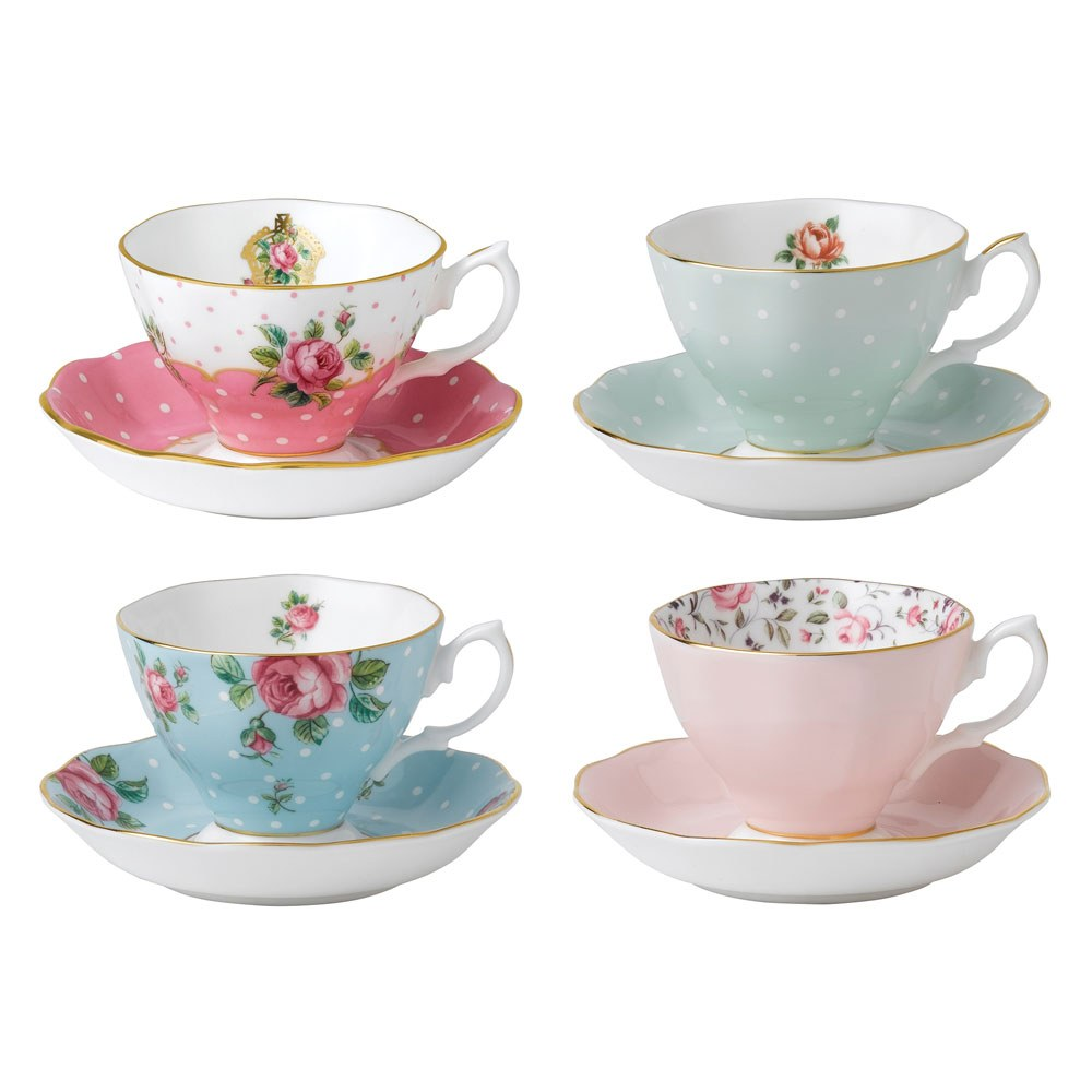 royal albert tea party vintage mix set of 4 teacups saucers royal albert australia. Black Bedroom Furniture Sets. Home Design Ideas