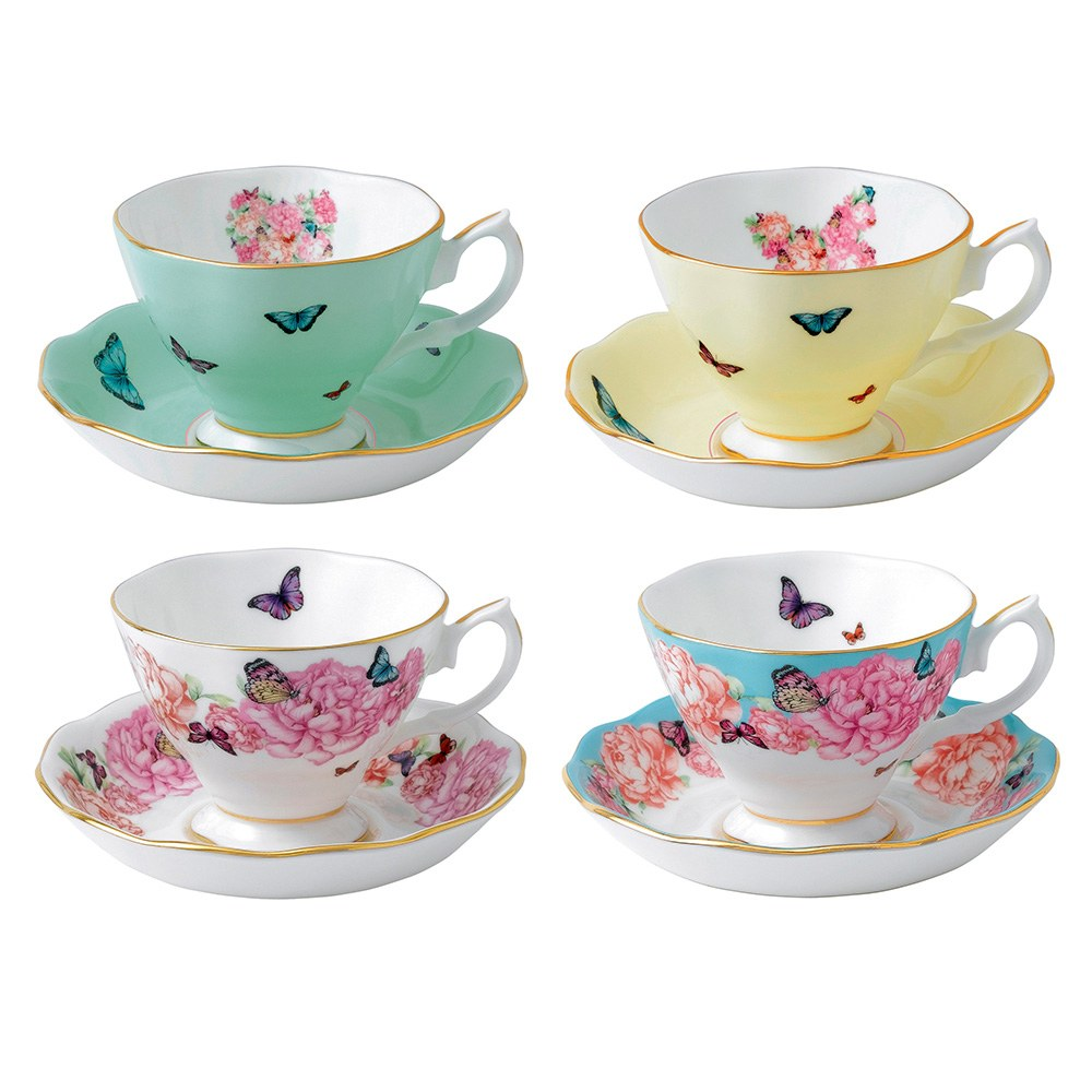 Miranda Kerr for Royal Albert Set of 4 Teacups & Saucers