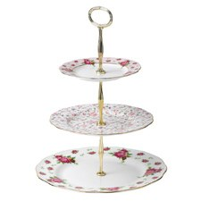 New Country Roses White Vintage 3 Tier Cake Stand