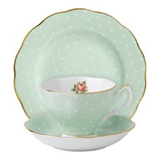 Polka Rose Teacup/ Saucer/ Plate Set