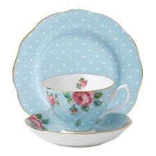 Polka Blue Teacup/Saucer/ Plate Set