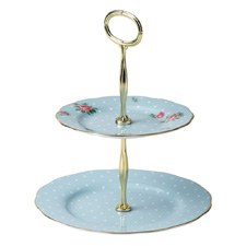 Royal Albert Polka Blue Vintage 2 Tier Cakestand