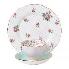 Modern Vintage Cheeky Pink Teacup, Saucer & Plate