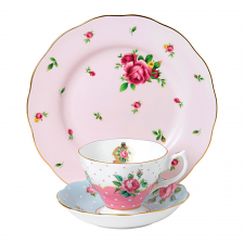 Modern Vintage New Country Roses Pink Teacup, Saucer & Plate