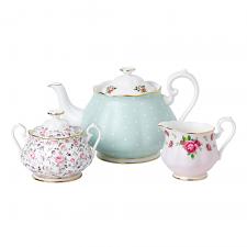 Modern Vintage Teapot, Cream and Sugar