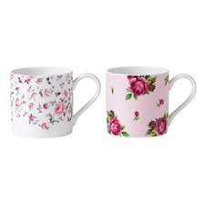 Set of 2 Mugs Rose Confetti/ New Country Roses Pink