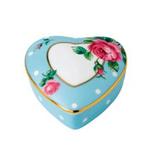 Royal Albert Interior Gift Polka Blue Small Heart Box