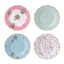Royal Albert Tea Party Vintage Mix Set of 4 Plates 16cm