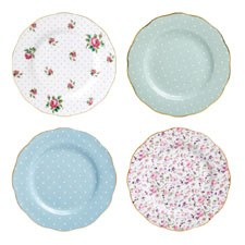 Tea Party Vintage Mix Set of 4 Plates 20cm