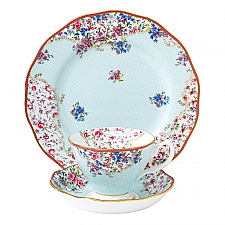 Royal Albert Candy Collection Sitting Pretty Teacup, Saucer, 20cm Plate Set