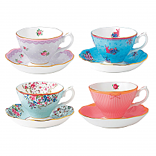 Royal Albert Candy Collection Set of 4 Teacups & Saucers