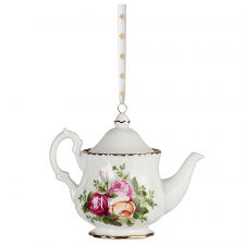 Old Country Roses Christmas Teapot Ornament