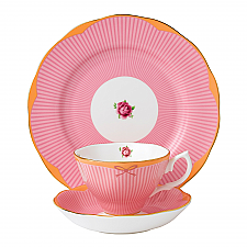Royal Albert Candy Collection Sweet Stripe Teacup, Saucer, 20cm Plate Set