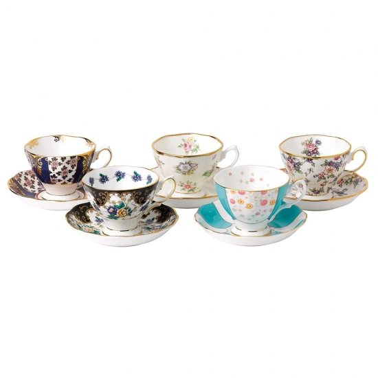 100 Years Teaware 10 Piece Set Cup & Saucer 1900-1940
