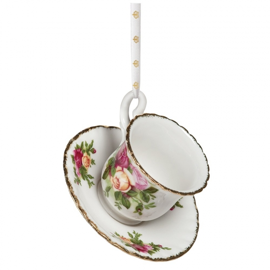Old Country Roses Christmas Teacup & Saucer Ornament