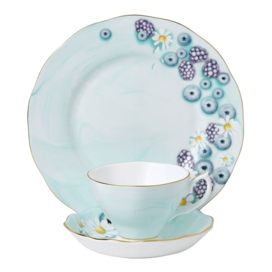 Alpha Foodie Teacup, Saucer & Plate Set Turquoise
