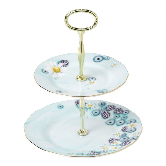 Alpha Foodie 2 Tier Cake Stand Turquoise