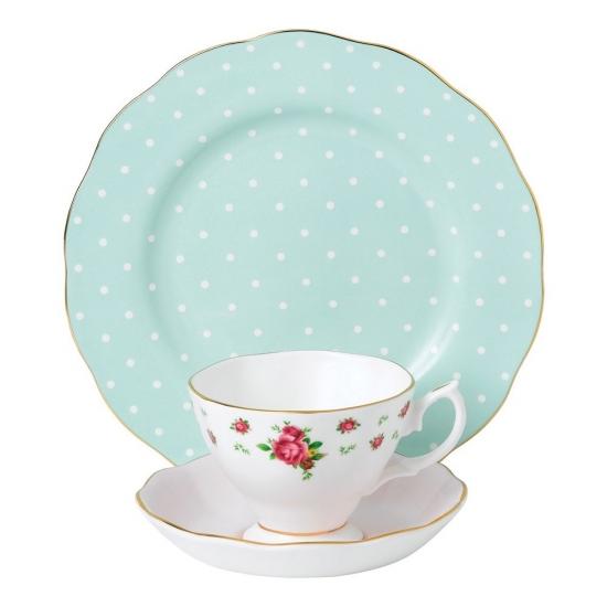 Modern Vintage Polka Rose Teacup, Saucer & Plate